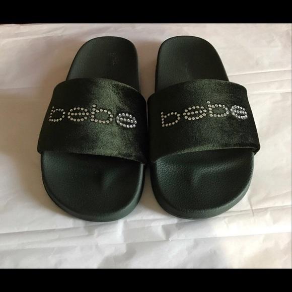 1486c4fc0312 Bebe Shoes - Bebe Satin   Rhinestone Slide Sandals